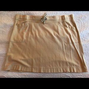 Knit skirt, khaki color, drawstring